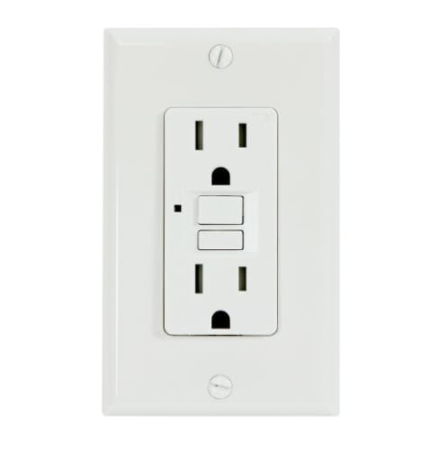 USI Electric 15 Amp GFCI Outlet, Tamper Resistant, White