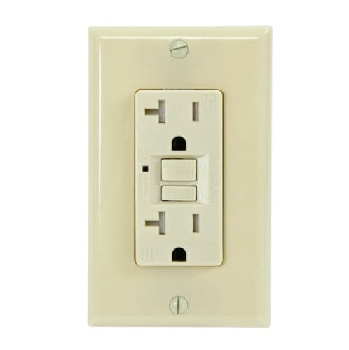 USI Electric 20 Amp GFCI Outlet, Tamper Resistant, Ivory