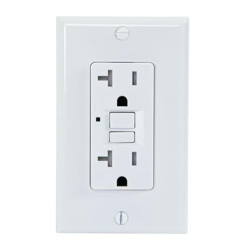 USI 20 Amp GFCI Outlet, Tamper Resistant, White