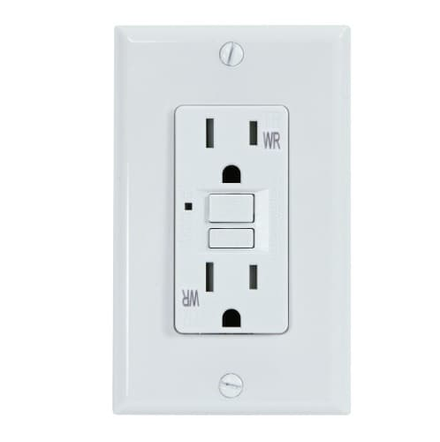 USI Electric 15 Amp. GFCI Outlet, Duplex Receptacle, Weather Resistant, White