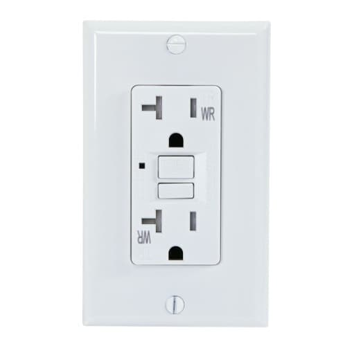 USI 20 Amp GFCI Outlet, Tamper & Weather Resistant, White