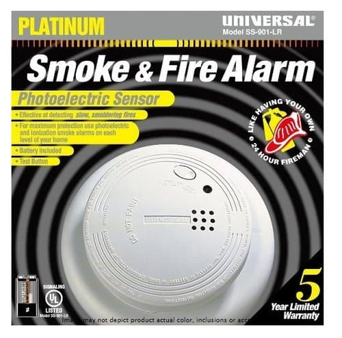 USI Photoelectric Smoke and Fire Alarm, 9V Battery Operated