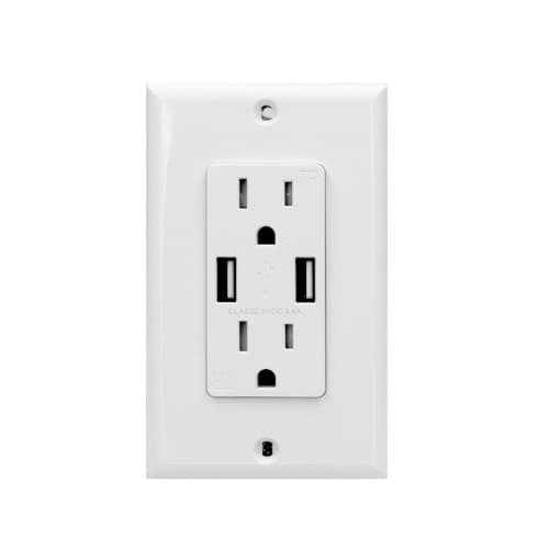 15 Amp Duplex Receptacle, USB Charger & Tamper Resistant, White