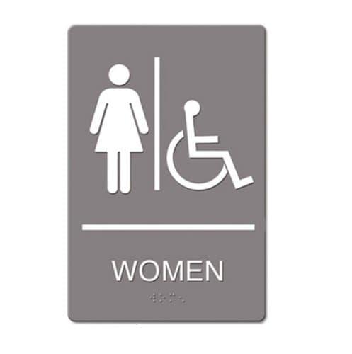 "US Stamp & Sign Gray/White ""Women Handicap"" ADA Sign 6X9"