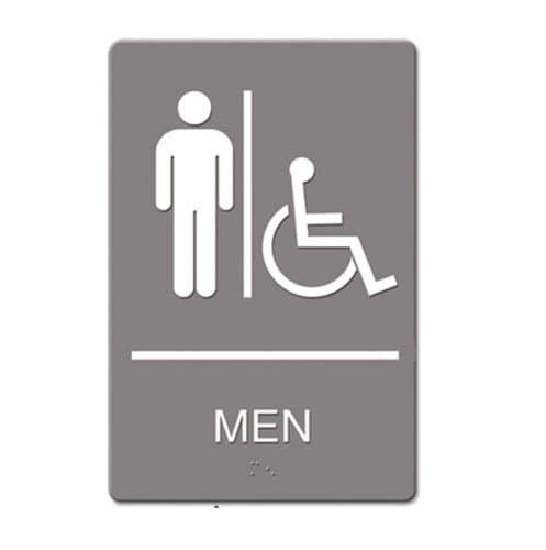 "US Stamp & Sign Gray/White ""Men Handicap"" ADA Sign 6X9"