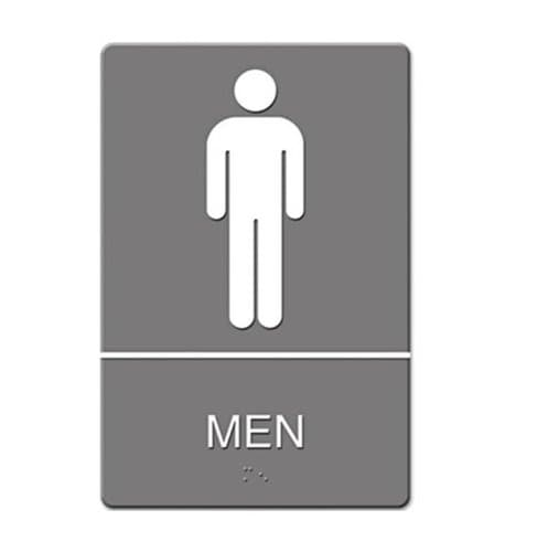 "US Stamp & Sign Gray/White ""Men"" ADA Sign 6X9"