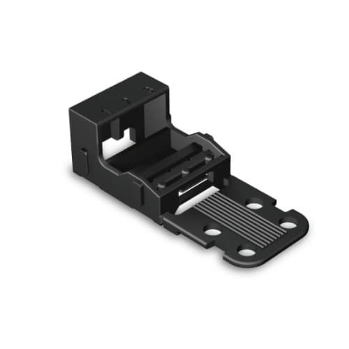 4 mm Mounting Carrier for 3-Conductor 221 Series Lever-Nuts, Horizontal Snap-in, Black