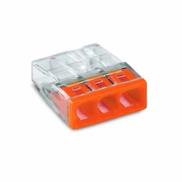 Compact Push Wire Connector, 3-Conductor, AWG, Orange