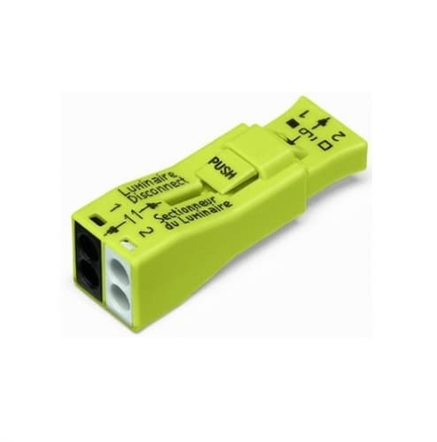 Wago Luminaire Quick Disconnect, 2-Port Lumi Nut Push-Wire Connector, 200pk