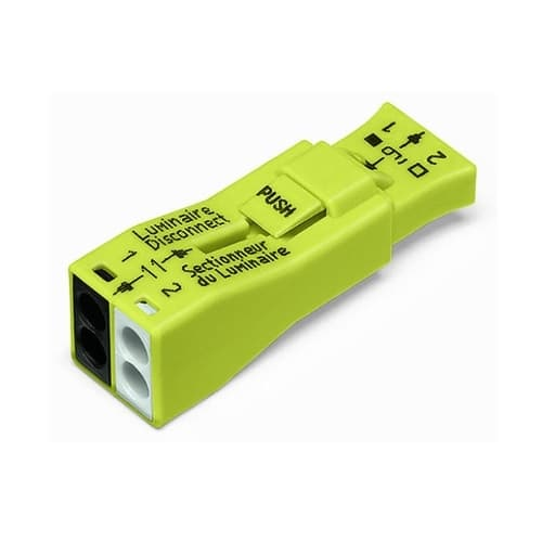 Wago Luminaire 2-Port Lumi-Nut Pushwire Ballast Disconnect Connector, 100pk