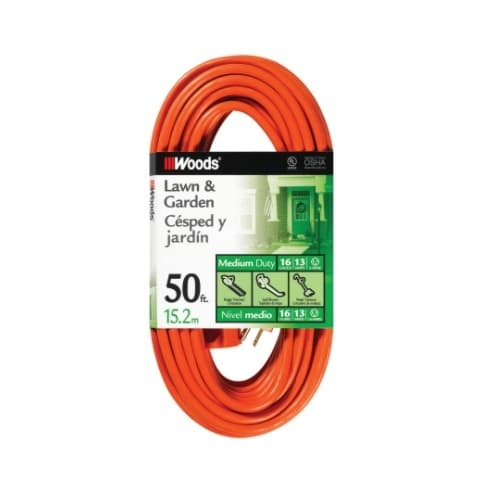 50-ft Vinyl Outdoor Extension Cord, 16/3 AWG, 13 Amp, Orange