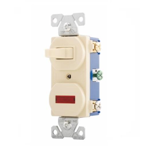 Eaton 15 Amp Pilot Light Switch  Combination  Ivory  Eaton