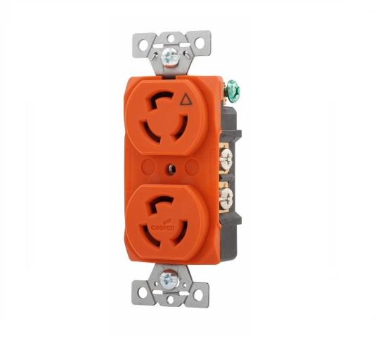 15 Amp Duplex Receptacle, Locking, NEMA 9-30, Orange