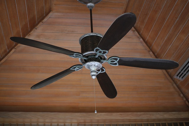 Black five-bladed ceiling fan on vaulted ceiling