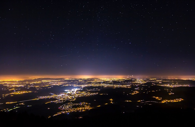 Light pollution seen from above several cities
