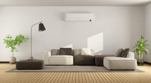 Wall mounted air handler in living room