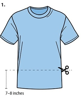 Where to cut on t-shirt
