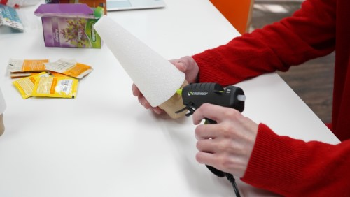 Gluing foam cone to cardboard base
