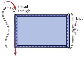 Threading elastic through folds in fabric