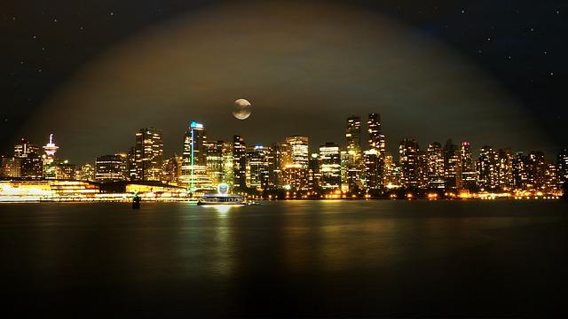 Skyglow seen over Vancouver