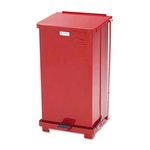 Defender Biohazard Step Can, 12 Gallon, Steel, Red