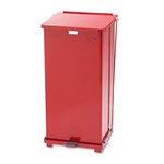 Biohazard Step Can, Square, Steel, 24 Gallon, Red
