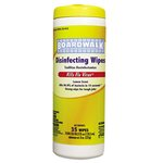 Disinfecting Wipes, 8 x 7, Lemon Scent, 35 Wipes Per Canister