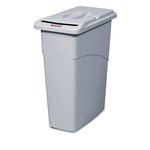 Cnfidential Receptacle with Lid, Rectangle 23 Gallon, Light Grey