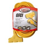 50' Yellow Rainproof Ground Fault Circuit Interrupter