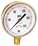 200 psi Polished Aluminum Welding & Compressed Gas Gauge