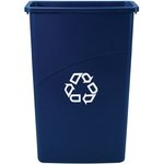 23-Gal Slim Jim Recycling Trash Container, Blue