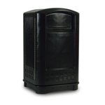 Plaza Indoor/Outdoor Waste Container Rectangular Plastic 50 Gallon Plastic, Black