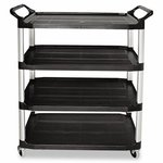 Black 4-Shelf Open all Sides Utility Cart