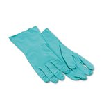 Nitrile Flock Lined Gloves, Large, Green, 12 Pairs of Gloves