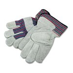 Men's Gunn Gloves with Leather Palm, Large, Gray, 12 Pairs