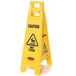 Yellow, 4 Sided Plastic Caution Wet Floor Floor Sign-12 x 16 x 38