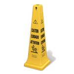 "Yellow, Multilingual ""CAUTION"" Safety Cone-12.25w x 12.25d x 36h"