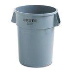 Gray, Round Plastic Brute Refuse Container W/Imprint- 32 Gallon