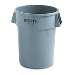 Gray, Round Plastic Brute Refuse Container W/Imprint- 32 Gallon