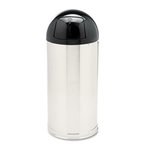 Round Top Stainless Steel Waste Receptacle, 15 Gallon
