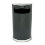 Half Round, 9 Gallon, Black and Chrome Receptacle