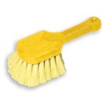 Plastic Handled Pot Scrubber Brush Gray Handle w/Yellow Bristles-8-in