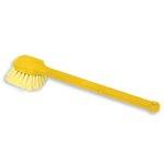 Plastic Pot Scrubber Brush Gray Handle w/Yellow Bristles-20-in