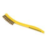 Yellow, Plastic Handled Metal-Fill Wire Scratch Brush-8.5-in