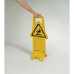 Yellow, Stable Multi-Lingual Safety Sign, 13w x 13.25d x 26h