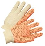 Large Orange PVC Dotted Canvas Gloves