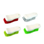 Red Polypropylene Bristle Scrub Brush, White Handle