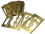 4'' Single Panel Brass Stencil Number Sets, 15 Piece