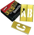 2'' Single Panel Brass Stencil Gothic Letter & Number Sets, 45 Piece