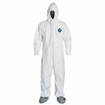 Medium Tyvek Coveralls with Attached Hood and Boots, White